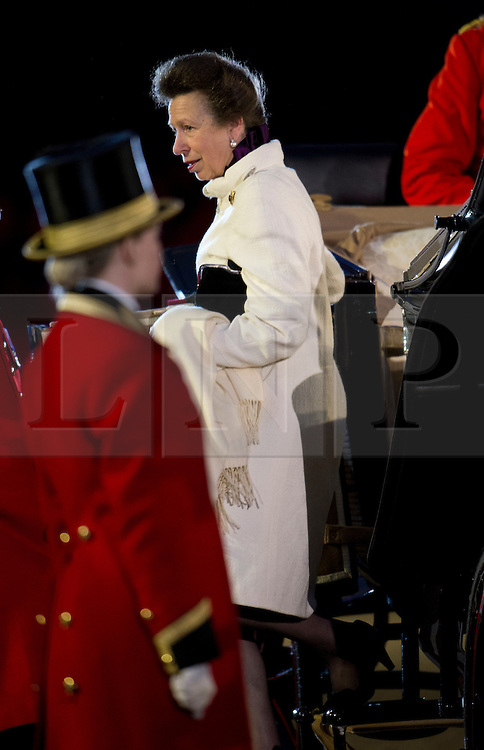 © London News Pictures. 10/05/2012. Windsor, UK. Her Royal Highness The Princess Royal arriving on The opening night of the Diamond Jubilee Pageant in the private grounds of Windsor Castle, on May 10, 2012. 1200 performers and 600 horses from countries all around the world take part in the Pageant which runs for four nights celebrating 60 years on the throne for Queen Elizabeth II.  Photo credit: Ben Cawthra/LNP