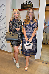 Left to right, sisters OLIVIA NEWMAN-YOUNG and FRAN NEWMAN-YOUNG at a Hello! magazine and Folli Follie shopping evening at Folli Follie, 493 Oxford Street, London on 25th August 2016.