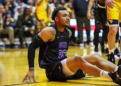 Mar 20, 2019; Morgantown, WV, USA; Grand Canyon Antelopes guard Carlos Johnson (23) pauses during the first half against the West Virginia Mountaineers at WVU Coliseum. Mandatory Credit: Ben Queen