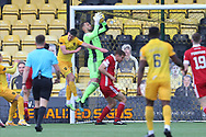 Aberdeen goalkeeper Gary Woods (43) makes a save during the Scottish Premiership match between Livingston and Aberdeen at Tony Macaroni Arena, Livingstone, Scotland on 1 May 2021.