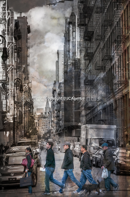 Unique disconnected dissimalar individuals crossing Greene Street with a backdrop of a changing cityscape SoHo New York City New York by Jacqueline C Agentis  2 of 25