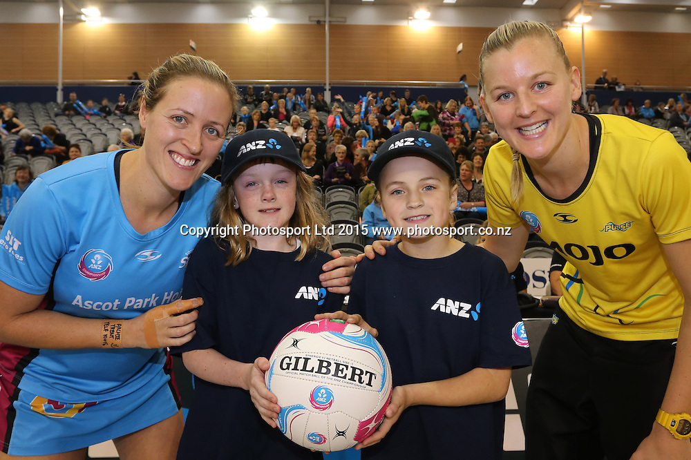 Future captains Lily Brophy, left, and Sarah Jamison with Steel captain Wendy Frew and Pulse captain Katrina Grant during the ANZ championship netball match between the Steel and the Pulse at the Edgar Centre, Dunedin, Saturday, May 02, 2015. Photo: Dianne Manson / www.photosport.co.nz