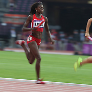Diamond Dixon, USA, in action during the Women's 4 X 400m Heats at the Olympic Stadium, Olympic Park, during the London 2012 Olympic games. London, UK. 10th August 2012. Photo Tim Clayton