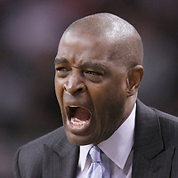 10 May 2012: Atlanta Hawks head coach Larry Drew reacts during the Boston Celtics 83-80 victory over the Atlanta Hawks, in Game 6 of the Eastern Conference first-round playoff series, at the TD Banknorth Garden, Boston, Massachusetts, USA.