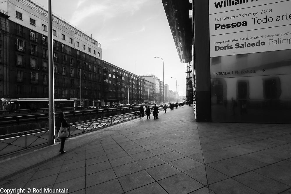Madrid, Spain - February 16, 2018 - …near the exit at Museo Nacional Centro de Arte Reina Sofia. <br /> <br /> Image: © Rod Mountain<br /> <br /> http://www.rodmountain.com <br /> <br /> http://bit.ly/Madrid_bw<br /> <br /> #flair_bw #bnw_captures #blackandwhiteisworththefight #bnw_city #blancoynegro #nb #wonderearthclubbw #wu_europe #igfotogram_bw #excellent_bnw #bnw_city #photooftheday #urbex #photocinematica  #noicemag #eyeshotmag #IamATraveler #explore #trip #Travelgram #stayandwander #traveldeeper #streets_storytelling #streetleaks #igersone #streetphotography #urbanromantix #street_captures #urbanandstreet #VisitSpain<br /> <br /> Instagram<br /> @spain @visita_madrid @museoreinasofia<br /> <br /> FaceBook<br /> @spain.info @visitamadridoficial @museoreinasofia<br /> <br /> Twitter<br /> @spain @Visita_Madrid @VisitMadrid_EN @museoreinasofia<br /> <br /> https://www.esmadrid.com/en<br /> https://en.wikipedia.org/wiki/Madrid<br /> https://www.spain.info/en/<br /> https://www.museoreinasofia.es/en/visit