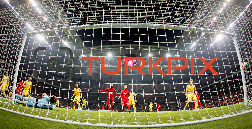 Turkey's scores during their UEFA Euro 2016 qualification Group A soccer match Turkey betwen Kazakhstan at AliSamiYen Arena in Istanbul November 16, 2014. Photo by Kurtulus YILMAZ/TURKPIX