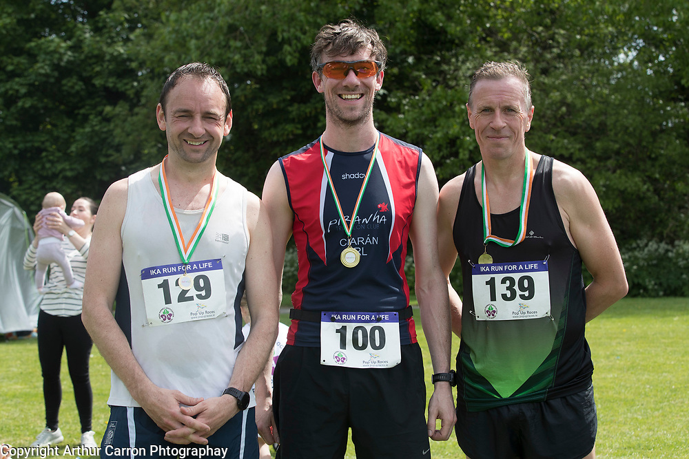 NO FEE PICTURES<br /> 19/5/18 Hundreds of people of all ages lapped up the summer sunshine when they came out to support an important cause which is close to many of their hearts, organ donation, by taking part in the Irish Kidney Association's 'Run for a Life' family fun run which took place at Corkagh Park, Clondalkin, Dublin 22 on Saturday 19th May.   (www.runforalife.ie) Pictured David Browne, Naas, 1st 10 km race, Ciaran Long, Drumcondra, 2nd and Dermot Delany, Tallaght AC, 3rd. Picture:Arthur Carron