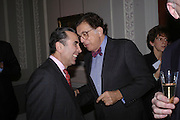 Prof David Khalili and Norman Kurland, Celebration honouring the arrival of Deborah Swallow, director, Courtauld Institute of Art. Courtauld Gallery. Somerset House. 9 December 2004. ONE TIME USE ONLY - DO NOT ARCHIVE  © Copyright Photograph by Dafydd Jones 66 Stockwell Park Rd. London SW9 0DA Tel 020 7733 0108 www.dafjones.com