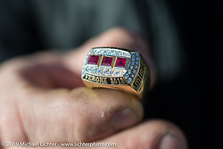 Samuele Reali's Best Of Show first place ring for his 1919 V-Twin Mag Motorcycle at Motor Bike Expo in Verona, Italy. Sunday January 21, 2018. Photography ©2018 Michael Lichter.