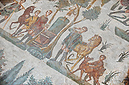 Hunters making a sacrifice to the goddess Diana after a hunt from the Room of The Small Nunt, no 25 - Roman mosaics at the Villa Romana del Casale which containis the richest, largest and most complex collection of Roman mosaics in the world, circa the first quarter of the 4th century AD. Sicily, Italy. A UNESCO World Heritage Site. .<br /> <br /> If you prefer to buy from our ALAMY PHOTO LIBRARY  Collection visit : https://www.alamy.com/portfolio/paul-williams-funkystock/villaromanadelcasale.html<br /> Visit our ROMAN MOSAICS  PHOTO COLLECTIONS for more photos to buy as buy as wall art prints https://funkystock.photoshelter.com/gallery/Roman-Mosaics-Roman-Mosaic-Pictures-Photos-and-Images-Fotos/G00008dLtP71H_yc/C0000q_tZnliJD08