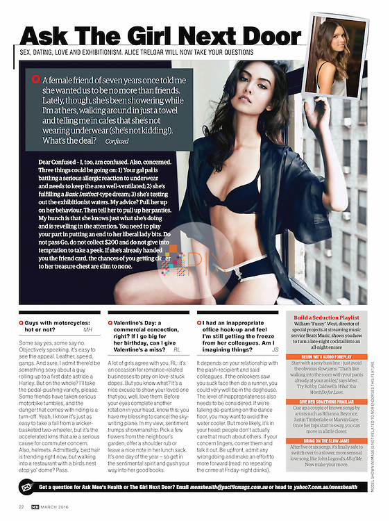Need advice on sex, dating, love… and exhibitionism? Turn to the March issue of Men's Health magazine, Australia. <br /> <br /> Main image from our shoot with Mika van Winkle, available for worldwide use with approval:  http://www.apixsyndication.com/gallery/Mika-van-Winkle/G0000uN99plVN2nI/C0000AFL_jHzKfx4