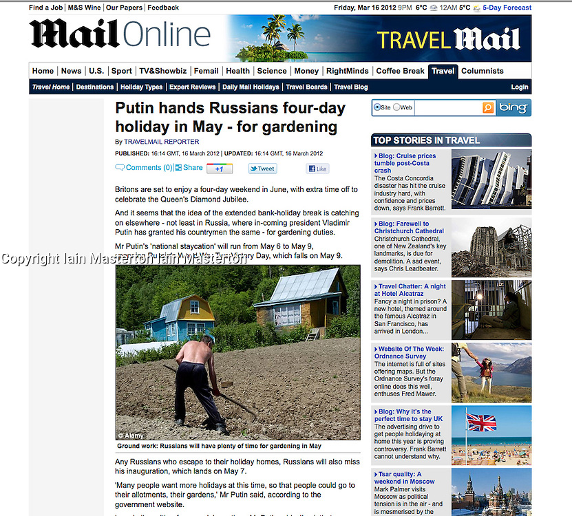 Tearsheet from The Mail online; man working in garden in Russia