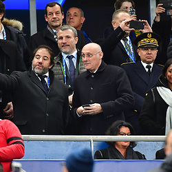(L-R) Vice President of the FFR Serge Simon, President of the French Rugby Federation (FFR) Bernard Laporte and French sports minister Laura Flessel during the test match between France and South Africa at Stade de France on November 18, 2017 in Paris, France. (Photo by Dave Winter/Icon Sport)
