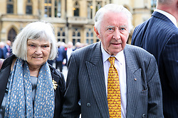 © Licensed to London News Pictures. 10/09/2019. London, UK. David Steel  and his wife Judith MacGregor departs from Westminster Abbey in London after attending <br /> a memorial service for Lord Paddy Ashdown. Lord Ashdown became the leader of the newly formed Liberal Democrats created by the merger of the Liberal Party and the Social Democratic Party in 1988, a position he held for 11 years before standing down in 1999. Photo credit: Dinendra Haria/LNP