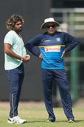 December 28, 2017 - Colombo, Western Province, Sri Lanka - Sri lanka fast bowler Lasith Malinga (L) talking with head coach Chandika Hathurusingha (R) during net session (Credit Image: © Sameera Peiris/Pacific Press via ZUMA Wire)