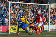 AFC Wimbledon attacker Michael Folivi (41) with a shot on goal during the EFL Sky Bet League 1 match between AFC Wimbledon and Charlton Athletic at the Cherry Red Records Stadium, Kingston, England on 23 February 2019.