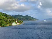 Church in Tiva, Tahaa,  Society Islands, French Polynesia; South Pacific