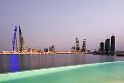 Skyline of Manama city and Bahrain Bay  from new Four Seasons Bahrain Bay luxury Hotel in Bahrain
