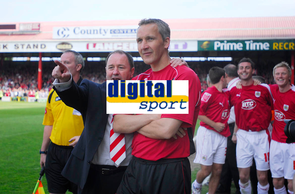 Photo: Leigh Quinnell.<br /> Bristol City v Rotherham United. Coca Cola League 1. 05/05/2007. Bristol City manager Gary Johnson and his asst Keith Millen point to the future after winning promotion.