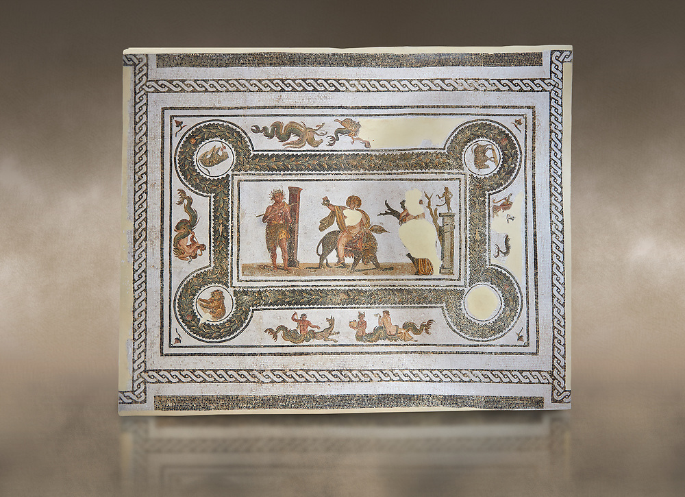 Pictures of a Roman mosaics design depicting Dionysus Riding a Panther, from Abdel Jelil. 2nd century AD. El Djem Archaeological Museum, El Djem, Tunisia. Against an art  background<br /> <br /> The Roman mosaic depicts Dionysus riding a Panther spilling a glass of wine he is holding. Behind him, a satyr wearing a panther skin plays a flute. In front of Dionysus a Bacchante is praying to Priapus,  a minor god of fertility. Surrounding the scene is a wreath designs with a medallion in each corner containing a wild boar, a panther, and lions. .<br /> <br /> If you prefer to buy from our ALAMY PHOTO LIBRARY Collection visit : https://www.alamy.com/portfolio/paul-williams-funkystock/roman-mosaic.html . Type - El Djem - into the LOWER SEARCH WITHIN GALLERY box. Refine search by adding background colour, place, museum etc<br /> <br /> Visit our ROMAN MOSAIC PHOTO COLLECTIONS for more photos to download as wall art prints https://funkystock.photoshelter.com/gallery-collection/Roman-Mosaics-Art-Pictures-Images/C0000LcfNel7FpLI
