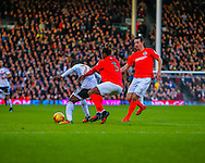 Sone Aluko  of Fulham and Gaetan Bong  of Brighton and Hove Albion during the Sky Bet Championship match at Craven Cottage, London<br /> Picture by Richard Brooks/Focus Images Ltd 07947656233<br /> 02/01/2017