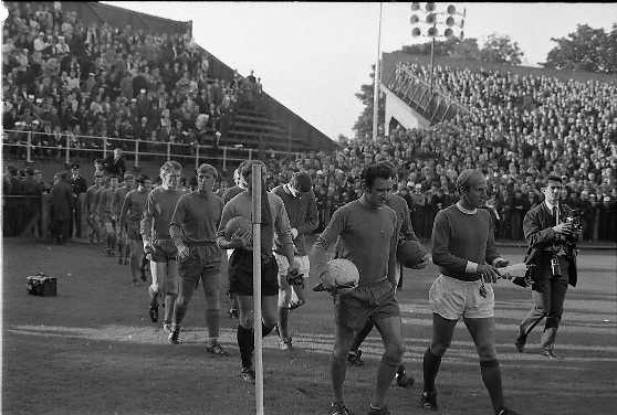 Waterford FC vs Manchester United at Lansdowne Road..1968..18.09.1968..09.18.1968..18th September 1968..Waterford FC as champions of the league of Ireland drew Manchester United, the European Champions,in the first round of this years competition.The Waterford team was as follows: Peter Thomas, Peter Bryan, Noel Griffin, Vinny Maguire, Jackie Morley, Jimmy McGeough, Al Casey, Alfie Hale, John O'Neill, Shamie Coad and Johnny Matthews. Manchester United won the tie 3 -1 with Denis Law being the man of the match..Alex Stepney,Tony Dunne,Francis Burns,Paddy Crerand,.Bill Foulkes,Nobby Stiles,George Best,Denis Law,.Bobby Charlton,David Sadler,Brian Kidd were the starting eleven for United.