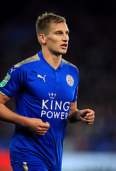 """Leicester City's Marc Albrighton during the Carabao Cup, third round match at the King Power Stadium, Leicester. PRESS ASSOCIATION Photo. Picture date: Tuesday September 19, 2017. See PA story SOCCER Leicester. Photo credit should read: Mike Egerton/PA Wire. RESTRICTIONS: EDITORIAL USE ONLY No use with unauthorised audio, video, data, fixture lists, club/league logos or """"live"""" services. Online in-match use limited to 75 images, no video emulation. No use in betting, games or single club/league/player publications."""
