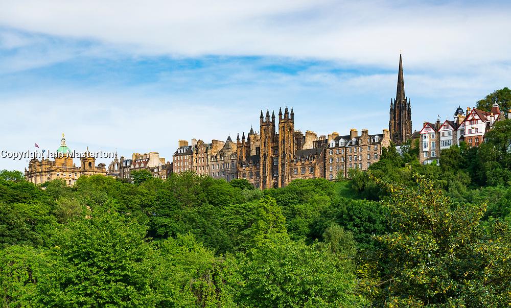 Skyline view across Princes Street Gardens of buildings in Old Town of Edinburgh , Scotland, UK