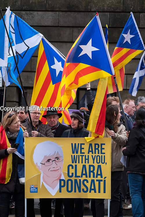 Edinburgh, Scotland,UK. 28 March 2018. Supporters of former Catalonia Education Minister and independence supporter Clara Ponsati outside Edinburgh Sheriff Court ahead of her bail hearing. Ponsati faces extradition to Spain. She was granted bail.