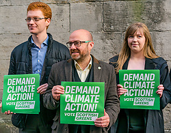 Hunter Square, Edinburgh, Scotland, United Kingdom, 28 November 2019. General Election: The Scottish Greens demand action about climate change as part of their general election campaign. Pictured (L to R) Ross Greer, MSP, Patrick Harvie, MSP & Scottish Green Party Leader, Gillian Mackay, Scottish Green Party candidate for Linlithgow & East Falkirk.<br /> Sally Anderson | EdinburghElitemedia.co.uk