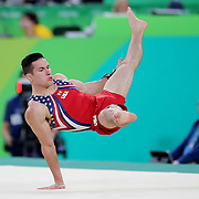 Gymnastics - Olympics: Day 3   Alexander Naddour #196 of the United States performing his Floor Exercise routine during the Artistic Gymnastics Men's Team Final at the Rio Olympic Arena on August 8, 2016 in Rio de Janeiro, Brazil. (Photo by Tim Clayton/Corbis via Getty Images)