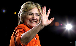 Democratic presidential nominee Hillary Clinton responds to cheering supporters as she takes the stage at the Osceola Heritage Park Exhibition Hall on Monday, Aug. 8, 2016 in Kissimmee, Fla. Earlier in the day, Clinton campaigned in St. Petersburg, FL, USA. Photo by Joe Burbank/Orlando Sentinel/TNS/ABACAPRESS.COM