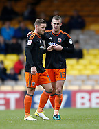 Billy Sharp of Sheffield Utd hands the captain armband over to Paul Coutts of Sheffield Utd during the English League One match at Vale Park Stadium, Port Vale. Picture date: April 14th 2017. Pic credit should read: Simon Bellis/Sportimage