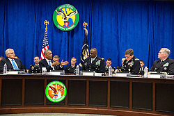 President Barack Obama participates in a briefing on the campaign against the terrorist group ISIL in Iraq and Syria, held at U.S. Central Command at MacDill Air Force Base in Tampa, Fla., Sept. 17, 2014. The President is seated between Defense Secretary Chuck Hagel and Gen. Lloyd J. Austin III, Commander, U.S. Central Command, right. (Official White House Photo by Pete Souza)<br /> <br /> This official White House photograph is being made available only for publication by news organizations and/or for personal use printing by the subject(s) of the photograph. The photograph may not be manipulated in any way and may not be used in commercial or political materials, advertisements, emails, products, promotions that in any way suggests approval or endorsement of the President, the First Family, or the White House.