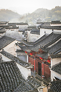 Elevated view of Chinese style architecture and rooftops in ancient Chinese village, Xidi village, UNESCO World heritage, Anhui province, China