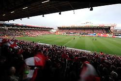 Bristol City fans wave over 12 Thousand scarfs gifted by Bristol Sport.  - Photo mandatory by-line: Alex James/JMP - Mobile: 07966 386802 - 25/01/2015 - SPORT - Football - Bristol - Ashton Gate - Bristol City v West Ham United - FA Cup Fourth Round