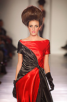 A model walks the runway wearing NCL by Nicolas Clements in New York on February 13, 2010