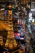 Aerial view of the Strip, Las Vegas, Nevada, USA. Eiffel Tower in the foreground