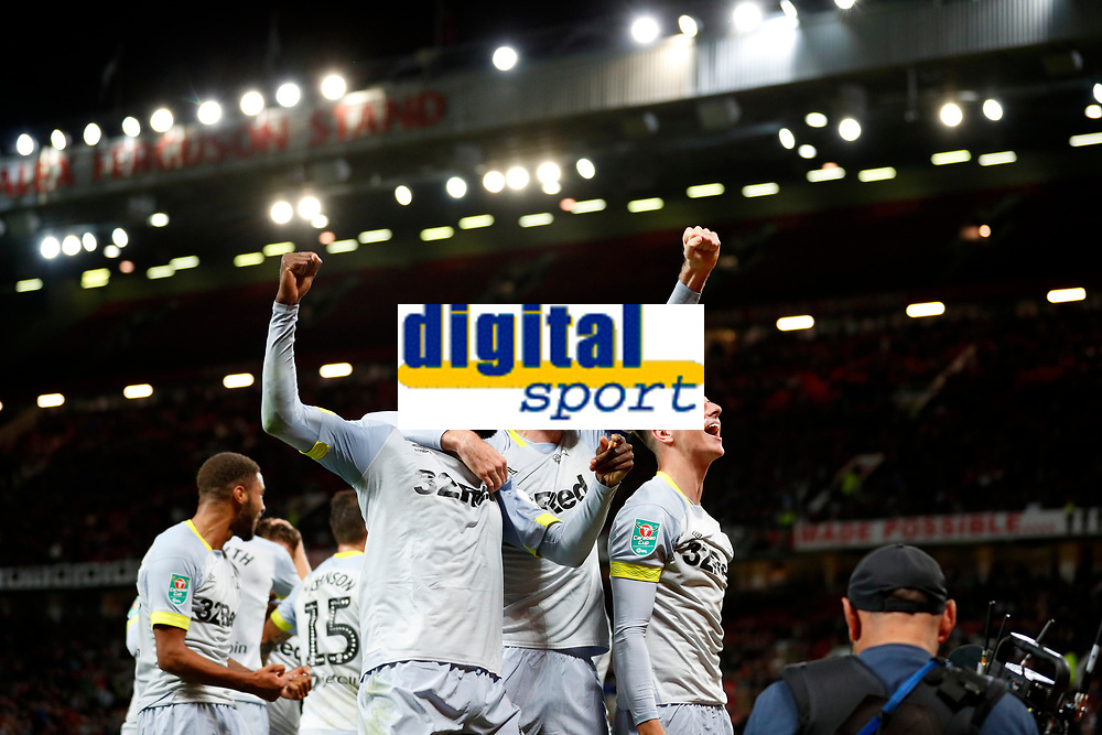 Football - 2018 / 2019 EFL Carabao Cup (League Cup) - Third Round: Manchester United vs. Derby County<br /> <br /> Jack Marriott of Derby County celebrates scoring at Old Trafford.<br /> <br /> COLORSPORT/LYNNE CAMERON