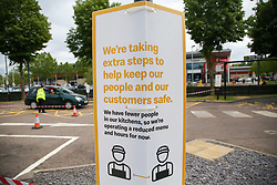 © Licensed to London News Pictures. 04/06/2020. London, UK. A' WE'RE TAKING EXTRA STEPS TO HELP KEEP OUR PEOPLE AND OUR CUSTOMERS SAFE' sign at McDonald's Drive Thru in north London. McDonald's Drive Thru opens in Haringey, after lockdown restrictions are relaxed. Photo credit: Dinendra Haria/LNP