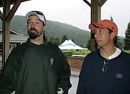 28 August 2005: 2005 U.S. Soccer Hall of Fame Inductees Marcelo Balboa (l) and Fernando Clavijo (r) take part in a golf outing at the Delhi College Country Club in Delhi, New York the day before their induction into the Hall of Fame.