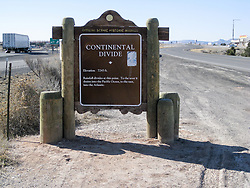 Continental Divide Sign in New Mexico USA. Along the Historic US Route 66 Roadway.