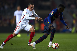 October 20, 2018 - Barcelona, Catalonia, Spain - Roque Mesa, Ousmane Dembele competes for the ball during the week 9 of La Liga match between FC Barcelona and Sevilla FC at Camp Nou Stadium in Barcelona, Spain on October 20, 2018. (Credit Image: © Jose Breton/NurPhoto via ZUMA Press)