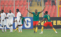 Photo: Steve Bond/Richard Lane Photography.<br /> Cameroun v Zambia. Africa Cup of Nations. 26/01/2008. Njitap Geremi (arms raised) opens the scoring with a free kick