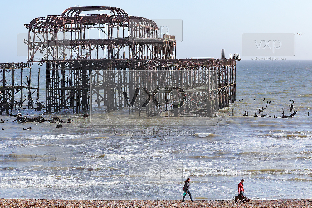 General view of a quiet Brighton beach at midday in Brighton, East Sussex, as the country is in lockdown to help curb the spread of the coronavirus, Monday, April 6, 2020. (Photo/Vudi Xhymshiti)