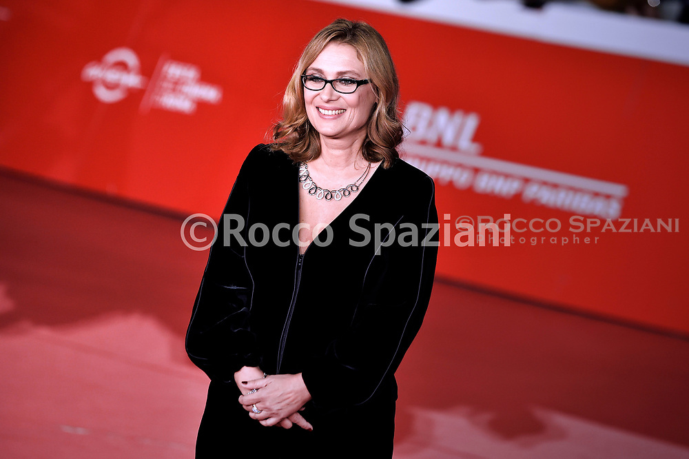 """ROME, ITALY - OCTOBER 18:  Nicoletta Mantovani, attends the """"Pavarotti"""" red carpet during the 14th Rome Film Festival on October 18, 2019 in Rome, Italy."""