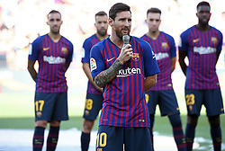 August 15, 2018 - Barcelona, Spain - Leo Messi during the presentation of the team 2018-19 before the match between FC Barcelona and C.A. Boca Juniors, corresponding to the Joan Gamper trophy, played at the Camp Nou, on 15th August, 2018, in Barcelona, Spain. (Credit Image: © Joan Valls/NurPhoto via ZUMA Press)
