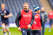 Finn Russell (#10) of Scotland is all smiles during the Captain's training run for Scotland at BT Murrayfield, Edinburgh, Scotland on 8 March 2019 ahead of the Guinness 6 Nations match against Wales.