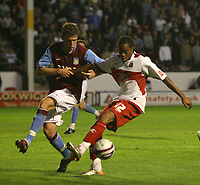 Photo: Mark Stephenson.<br /> Walsall v Aston Villa. Pre Season Friendly. 07/08/2007.Walsall's Ishmel Demontagnac (R) anr Villa's Shane Lowry