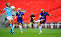Caroline Weir of Manchester City Women blocks a shot from Guro Reiten of Chelsea Women- Mandatory by-line: Nizaam Jones/JMP - 29/08/2020 - FOOTBALL - Wembley Stadium - London, England - Chelsea v Manchester City - FA Women's Community Shield